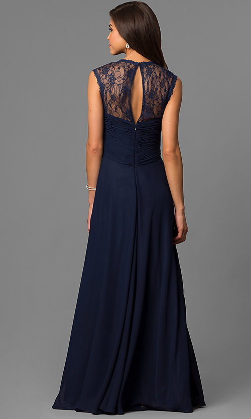 Image of Elizabeth K long lace-back formal dress. Style: FB-GL1376P Back Image