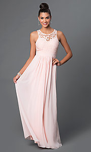Image of lace-bodice open-back long formal sleeveless dress Style: LP-22620 Front Image