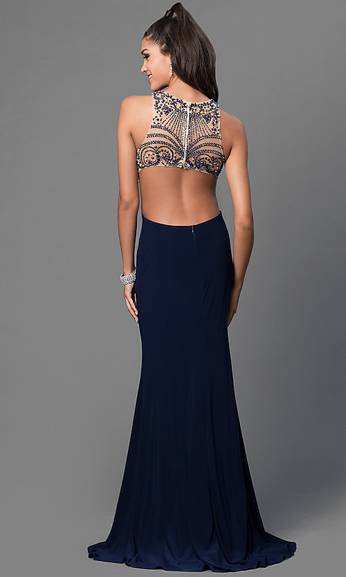 Image of mock-two-piece jeweled formal gown Style: JT-613 Back Image