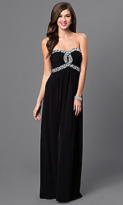 Image of empire-waist strapless black prom gown Style: CT-8415DE5B Front Image