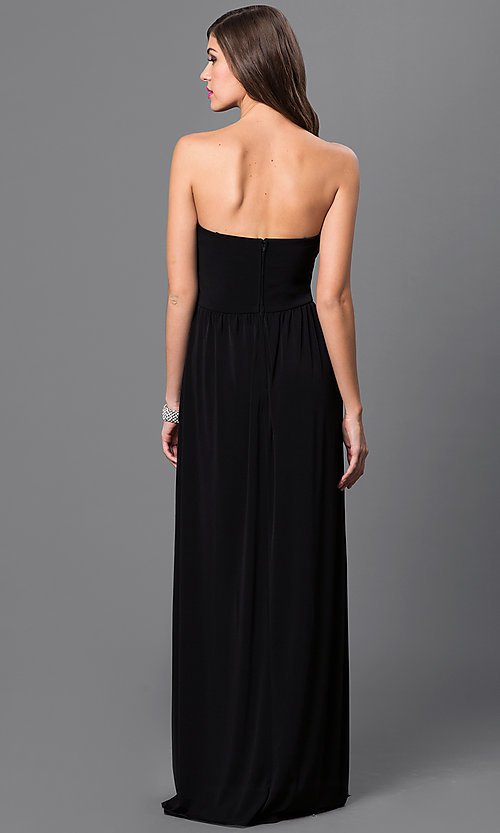 Image of empire-waist strapless black prom gown Style: CT-8415DE5B Back Image