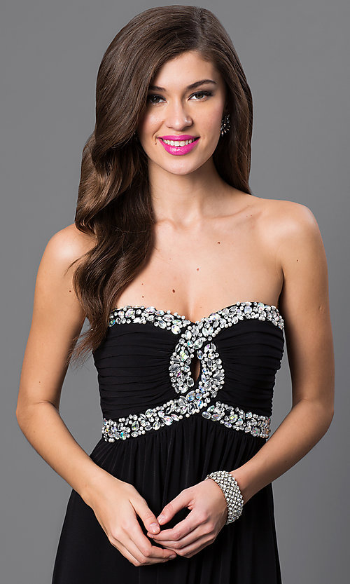 Image of empire-waist strapless black prom gown Style: CT-8415DE5B Detail Image 1