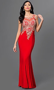 Image of illusion-back beaded-embroidery long evening gown. Style: PO-7364 Detail Image 2