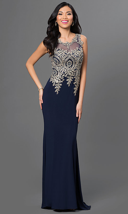 Image of illusion-back beaded-embroidery long evening gown. Style: PO-7364 Front Image