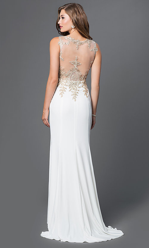 Image of illusion-back beaded-embroidery long evening gown. Style: PO-7364 Back Image