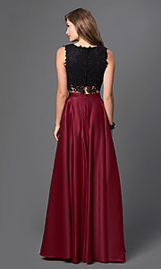 Image of floor-length two-piece formal burgundy gown Style: PO-7450 Back Image