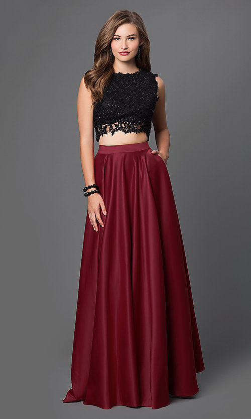 Image of floor-length two-piece formal burgundy gown Style: PO-7450 Front Image