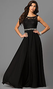 Image of sleeveless floor-length lace-bodice formal gown Style: DQ-9325 Front Image