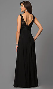 Image of sleeveless floor-length lace-bodice formal gown Style: DQ-9325 Back Image
