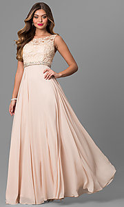 Image of sleeveless floor-length lace-bodice formal gown Style: DQ-9325 Detail Image 1