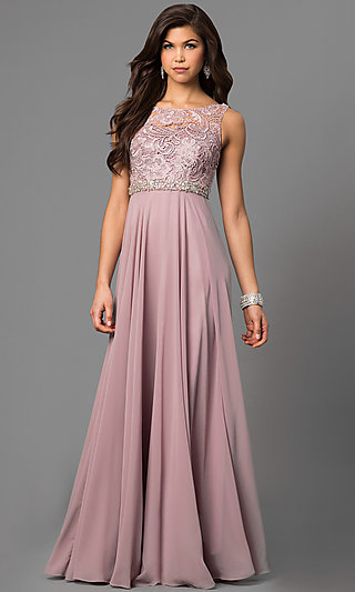 Sleeveless Floor-Length Lace-Bodice Formal Gown