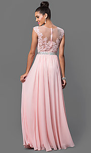 Image of floor-length embroidered lace-top formal gown. Style: DQ-9400 Back Image