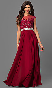 Image of floor-length embroidered lace-top formal gown. Style: DQ-9400 Detail Image 3