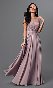 Image of floor-length embroidered lace-top formal gown. Style: DQ-9400 Front Image