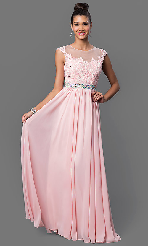 Image of floor-length embroidered lace-top formal gown. Style: DQ-9400 Detail Image 1