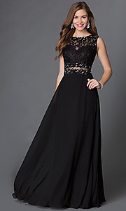 Image of floor length mock two piece black lace gown Style: DQ-9322 Front Image