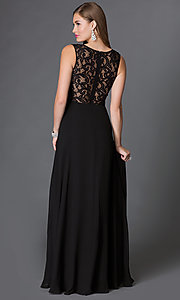 Image of floor length mock two piece black lace gown Style: DQ-9322 Back Image