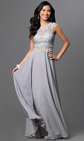 Mock Two Piece Black Lace Floor Length Gown .
