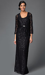 Image of lace-sequined formal dress with matching jacket Style: DQ-9093 Front Image