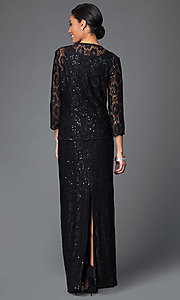 Image of lace-sequined formal dress with matching jacket Style: DQ-9093 Back Image