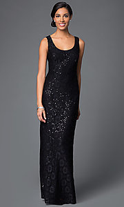 Image of lace-sequined formal dress with matching jacket Style: DQ-9093 Detail Image 1
