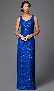 Image of lace-sequined formal dress with matching jacket Style: DQ-9093 Detail Image 2