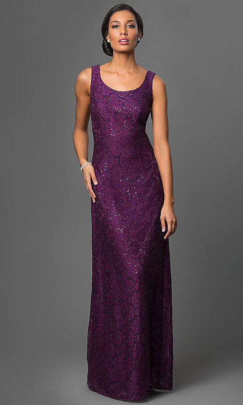 Image of lace-sequined formal dress with matching jacket Style: DQ-9093 Detail Image 3