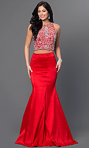 Image of two-piece long mermaid dress with jeweled top. Style: DQ-9268 Front Image