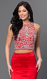 Image of two-piece long mermaid dress with jeweled top. Style: DQ-9268 Detail Image 1