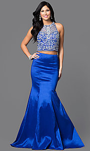 Image of two-piece long mermaid dress with jeweled top. Style: DQ-9268 Detail Image 3