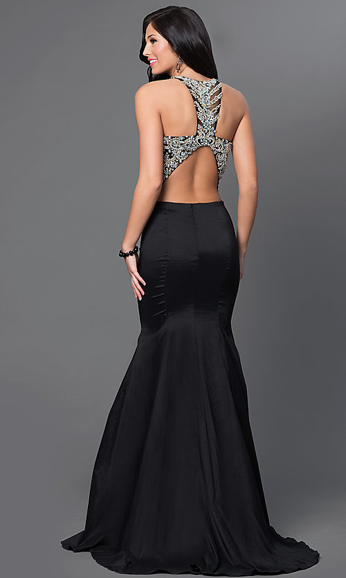 Image of two-piece long mermaid dress with jeweled top. Style: DQ-9268 Back Image