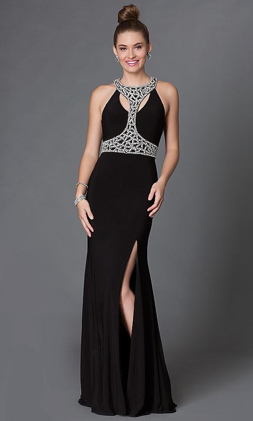Image of floor-length jewel-embellished T-back prom dress Style: DQ-9285 Front Image