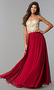 Image of long formal gown embroidered bodice Style: DQ-9247 Detail Image 1
