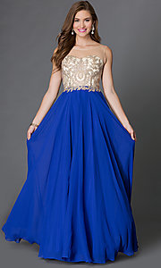 Image of long formal gown embroidered bodice Style: DQ-9247 Detail Image 2
