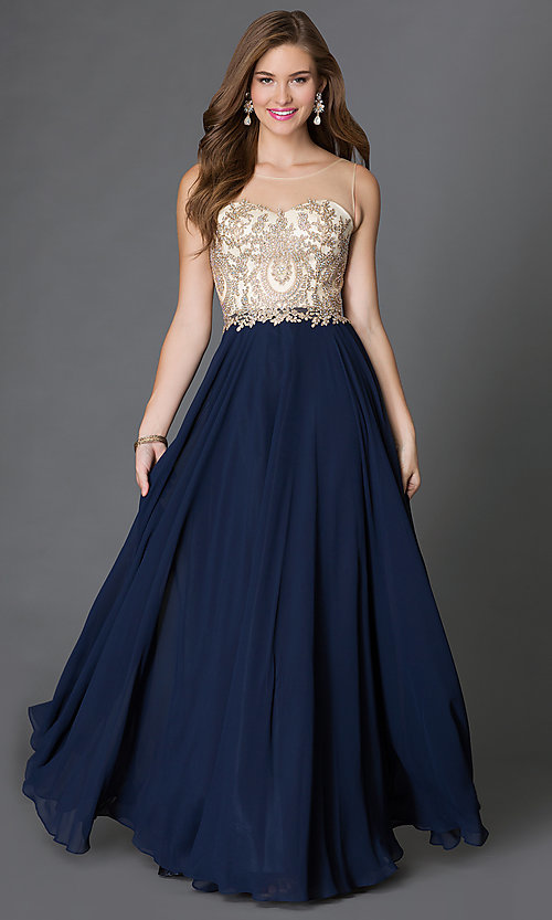 Image of long formal gown embroidered bodice Style: DQ-9247 Front Image