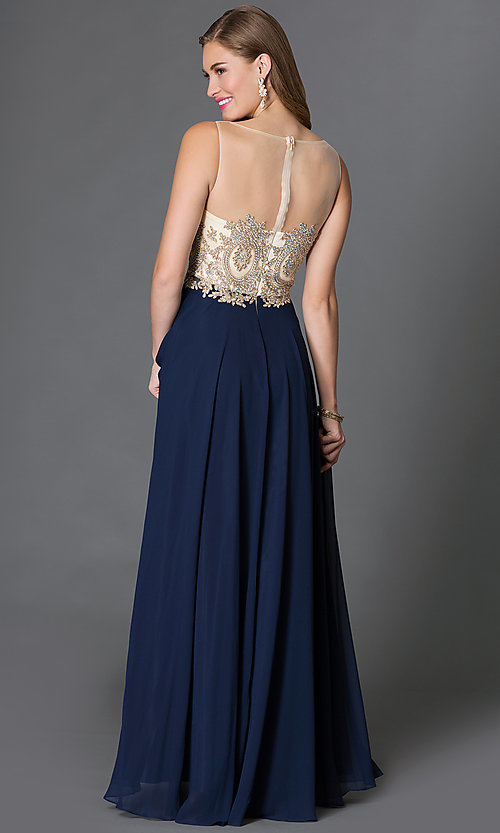 Image of long formal gown embroidered bodice Style: DQ-9247 Back Image