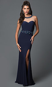 Image of beaded long prom dress with sheer-illusion mesh high neckline Style: DQ-9236 Front Image