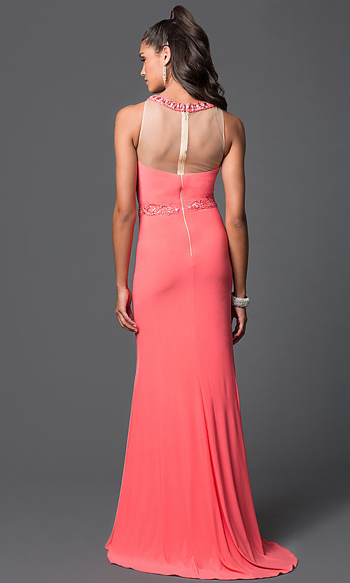 Image of beaded long prom dress with sheer-illusion mesh high neckline Style: DQ-9236 Back Image