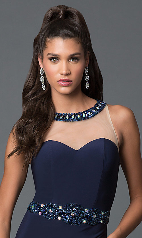 Image of beaded long prom dress with sheer-illusion mesh high neckline Style: DQ-9236 Detail Image 3