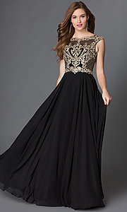 Image of long formal prom dress with embroidered-lace bodice. Style: DQ-9266 Front Image