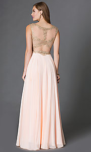 Image of long formal prom dress with embroidered-lace bodice. Style: DQ-9266 Back Image