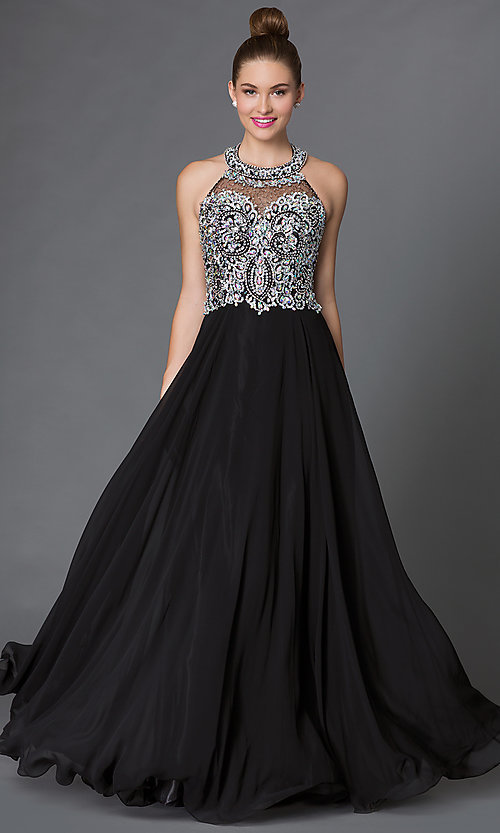 Image of backless long halter dress with jewel detailing Style: DQ-9233 Front Image