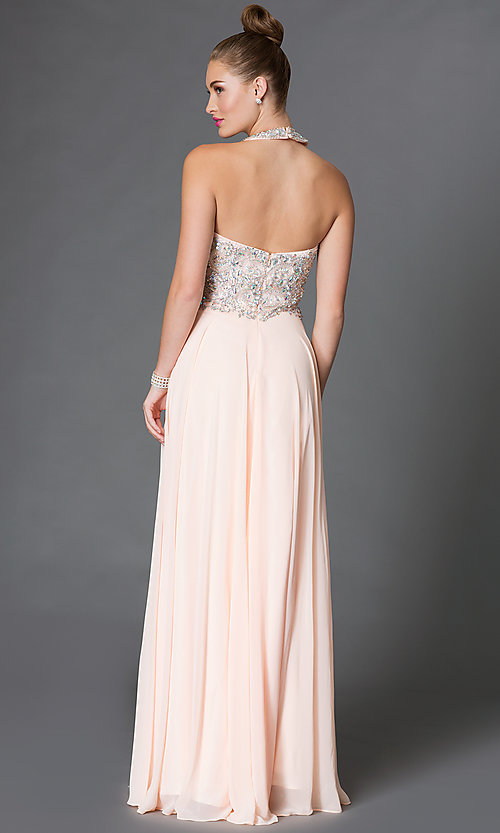 Image of backless long halter dress with jewel detailing Style: DQ-9233 Back Image