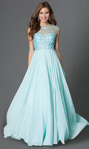 Image of long flowing cap-sleeve dress with beaded sheer bodice Style: DQ-9279 Detail Image 1