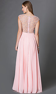 Image of long flowing cap-sleeve dress with beaded sheer bodice Style: DQ-9279 Back Image