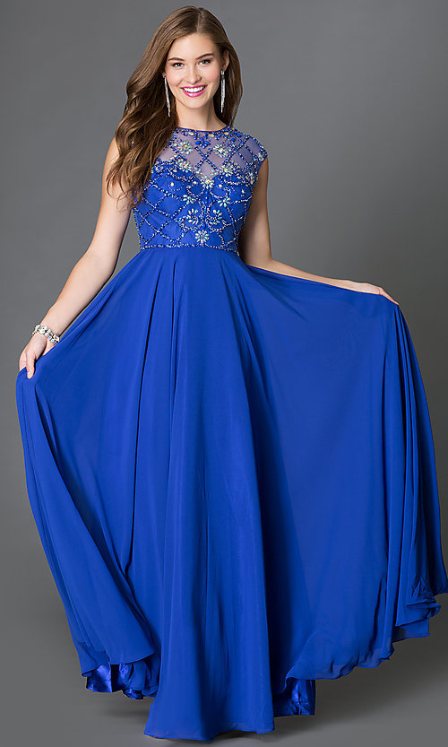 Image of long flowing cap-sleeve dress with beaded sheer bodice Style: DQ-9279 Front Image