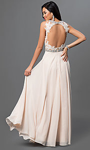 Image of long backless backless lace-bodice chiffon prom dress. Style: DQ-9281 Back Image