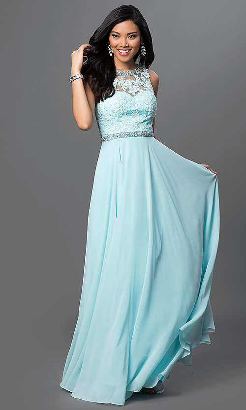Image of long backless backless lace-bodice chiffon prom dress. Style: DQ-9281 Detail Image 2