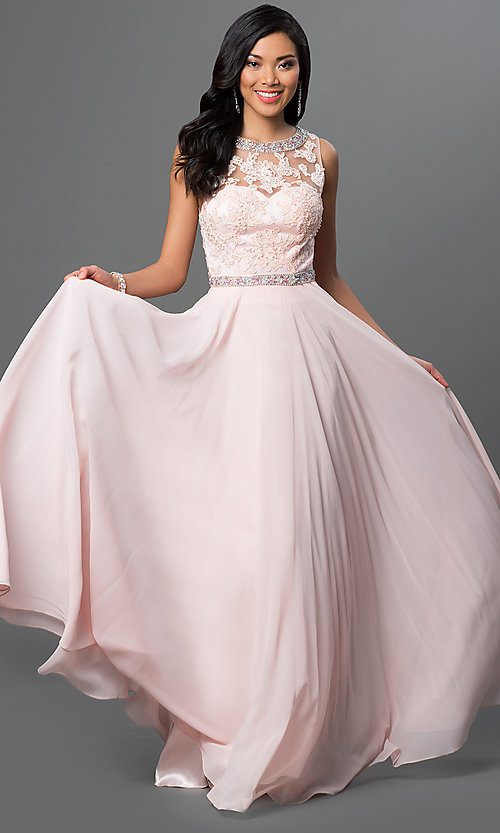 Image of long backless backless lace-bodice chiffon prom dress. Style: DQ-9281 Front Image