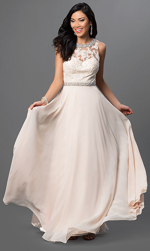 Image of long backless backless lace-bodice chiffon prom dress. Style: DQ-9281 Detail Image 1